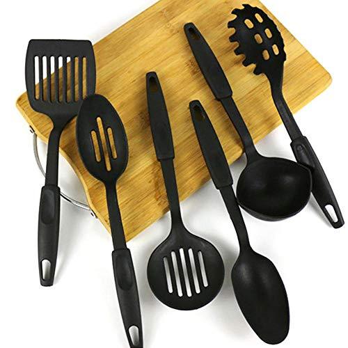 Set di 6 utensili da cucina in plastica, utensili da cucina per la cucina, senza BPA, spatola, cucchiaio, mestolo, mestolo, mestolo, frusta