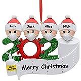 VZATT Adorno de Familia Sobrevivido, 2020 Adornos de Adorno de Navidad, en cuarentena en casa Adorno de árbol de Navidad Personalizado de la Familia para Familiares Amigos Fiesta Adornos Navideños