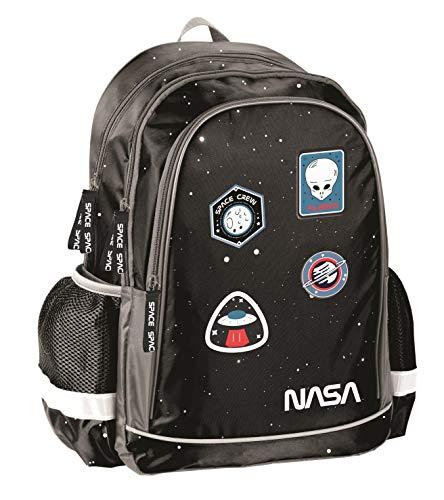 NASA Ergonomischer Rucksack Kinderrucksack für Jungen und Mädchen mit DREI großen Fächern und seitlichen Getränkenetzn, 41 x 30 x 18 cm, schwarz