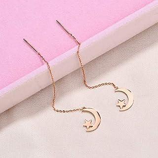 Ggll Korean Jewelry Titanium Steel Earrings Long Tassel Ear Wire Female Earrings Pearl Earrings(785 Star Moon Ear Line)