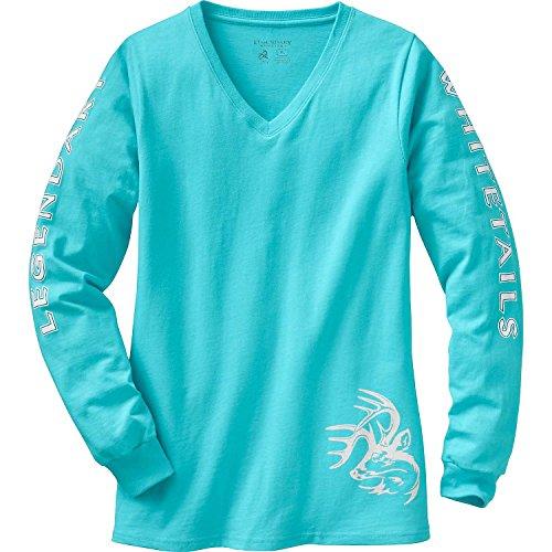 Legendary Whitetails Damen-T-Shirt, langärmelig, Damen, Langärmelig, Non-Typical Long Sleeve T-Shirt, Gletscher, Small