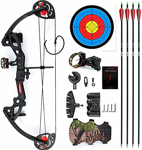 """E-ROCK Youth Compound Bow and Arrow Set for Women/Beginner/Teenagers,with 4pcs Carbon Arrows Archery Right/Left Handed, 19""""-28"""" Draw Length, 15-29lbs Draw Weight Archery Hunting Equipment."""