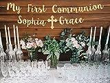 Bannière de première communion, bannière de communion, bannière personnalisée dieu bénédiction bannière de communion, bannière dorée, décoration de communion, signe de communion