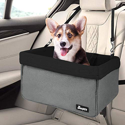 """JESPET Dog Booster Seats for Cars, Portable Dog Car Seat Travel Carrier with Seat Belt for 24lbs Pets (Black-16 L x 13"""" D x 9"""" H)"""