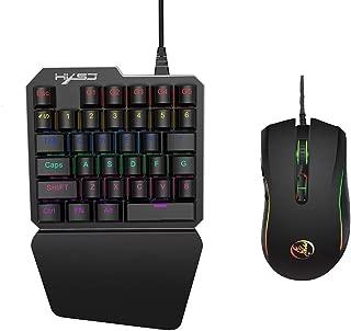 Docooler HXSJ J100 + A869キーボードマウスセット35キーミニUSB有線3200DPI 7ボタンLEDオプティカルゲームキーボードデスクトップPC用マウスコンボラップトップゲーマー(ブラック)