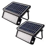 Foco proyector LED solar exterior 10W 1.080 lm IP65. Set 2 unidades. Encendido y apagado automático con sensor de luz. Detección movimiento 180 grados con 2 sensores PIR. Selección 3 modos. Sin cables
