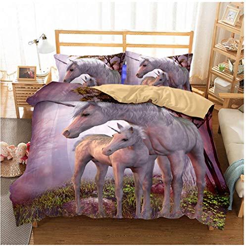 Stillshine . 3D Unicorn Fairy Tale Dream Castle Meadow Forest White Horse Wings Open Print Duvet Cover Bedding Set Child Girl, polyester, Licorne Dans les Bois, Lit double 200x200 cm