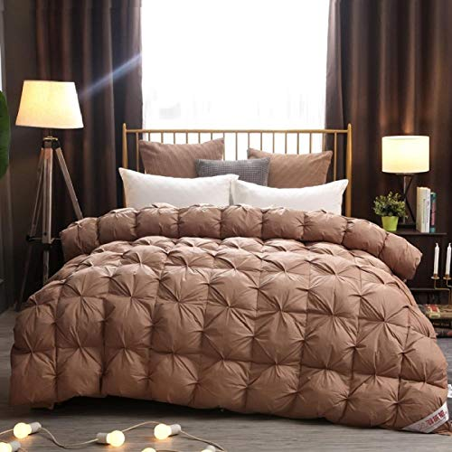 CHOU DAN Super King Duvet 13.5 Tog,Winter 95 New Down Duvet White Goose Down Twisted Flower Quilt Single Double Cotton Quilt Four Seasons Universal Spring And Autumn-220 * 240cm 3500g_coffee