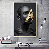 SQSHBBC Modern Sexy Woman Dark Skins Canvas Painting Home Decoration Art Poster Wall Pictures for Living Room Girl30X40CM SIN Marco