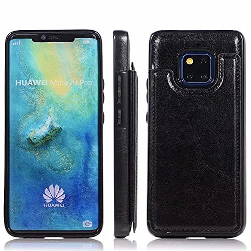 Molg Compatible con Funda Huawei Mate 30 Pro Hebilla Doble Color Puro Alta Grado PU Cuero Caso [Dos Cierres Magnéticos] [Ranuras para Tarjetas] Antigolpes Cáscara-Negro