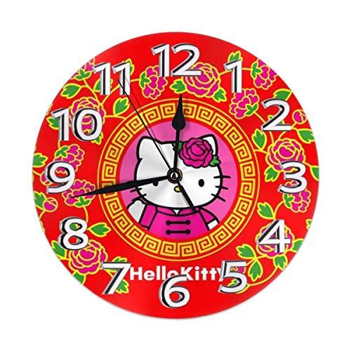 yongxing - Reloj de pared decorativo con diseño de Hello Kitty rojo silencioso, reloj digital sin dril a pilas redondas