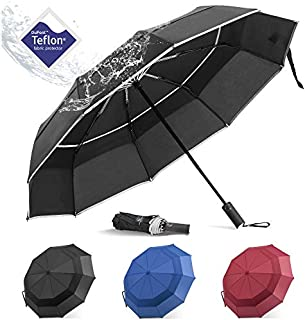 BANANA Windproof Folding Rain Umbrella - Compact Durable Portable Travel Size Unbrella Auto Close/Open Double Canopy Vented with Teflon Coating Collapsible Lightweight Umbrellas for Mens (Black)
