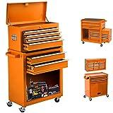 On Shine 8-Drawer Tool ChestTool Box with Sliding Drawers, Detachable Organizer Tool Box Combo, Mobile Lockable Toolbox for Workshop Mechanics Garage(Vitality Orange)