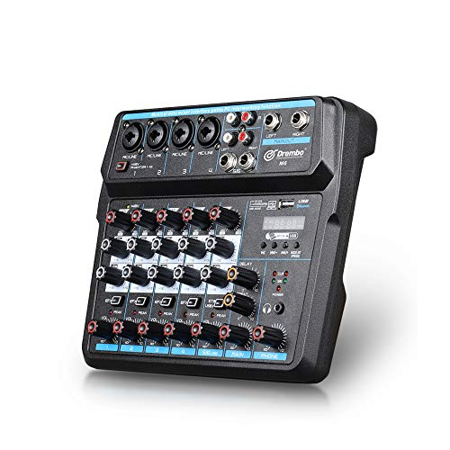 D Debra M6 Mini Audio Mixer Mixing Console Mixer Sound 6 Channel with Sound Board USB Bluetooth Audio Interface 48V Phantom Power Mixer Use for DJ Studio PC Recording Singing Webcast Party