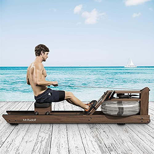 Mr. Rudolf Water Rowing Machine,Black Walnut Wood Rower with Bluetooth Monitor - Indoor Fitness Exercise Home Sports Exercise Equipment(Included an Electric Pump and A Dust Cover)