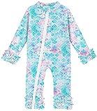 swimsobo Newborn Girls Boys Sunsuit UPF 50+ Bathing Suit Ruffle Long Sleeve Full Front Zipper Swimsuits Mermaid Fish Scale Printed Rashguard Quick Dry Swimwear 0-6 Months Blue