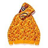ZDZQDD Fashion Hip Hop Shark Camo Print Cotton Sweatershirt Casual Loose Zip Hoodie Jacket, The Most anticipated Gift for Men and Women-Amarillo_L