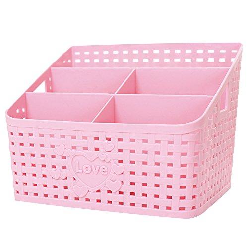 Coideal Plastic Bathroom Shower Makeup Organizer, Large Pink Basket Caddy Office Supplies/Skin Care/Cosmetic Storage Organizer Holder Box for Desktop Office Bedroom Countertop Home Kitchen Desk