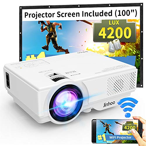 WiFi Mini Projector, Jinhoo 2020 Latest Update 4200 Lux [100' Projector Screen Included] Supported 1080P Home Theater with 176'' Projection Size Support TV Stick, HDMI, USB, SD, VGA