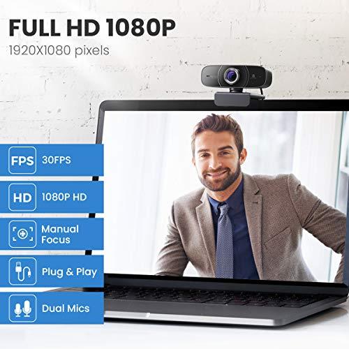 Webcam 1080P HD mit Mikrofon PC Kamera,Vitade 826M Web Cam USB Camera für Video Chat Live Streaming Kompatibel mit Laptop Desktop Mac Windows Skype Twitch YouTube Xsplit Xbox One