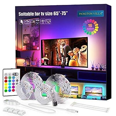 PANGTON VILLA Led Strip Lights, 14.3ft for 65-75in TV, USB LED TV Backlight Kit with Remote - 16 Color Changing 5050 LEDs Bias Lighting for HDTV