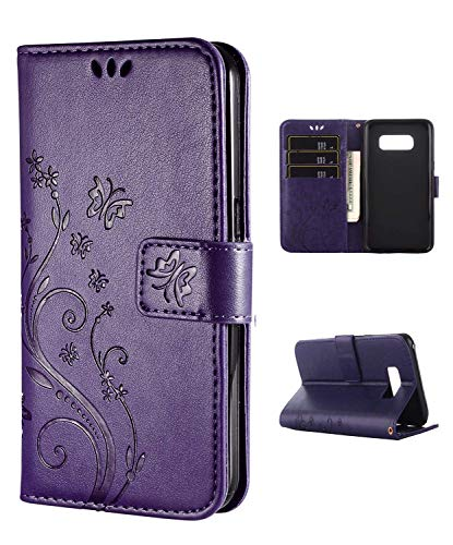 FLYEE Case Compatible with Galaxy S9 Plus (6.2 inch,Released in 2018),Wallet Case for Women and Girls with Card Holder,Flip PU Leather Case[Kickstand] Embossed Butterfly Flower Protective Case-Purple