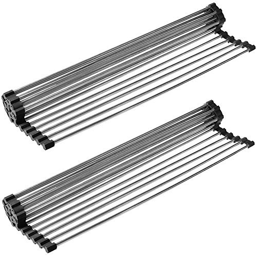 """Belgoff Over the Sink Multipurpose Roll-Up Dish Drying Rack (21""""(L) x 16""""(W) Black - 2 Pack)"""