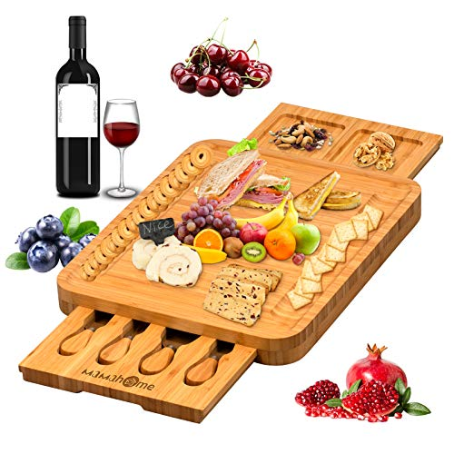 MaMahome Bamboo Cheese Board Set, Charcuterie Boards Platter and Knife set, Hidden Sliding Drawer for Birthday Party Housewarming Bridal Shower Wedding Couple Gift (Style 2)