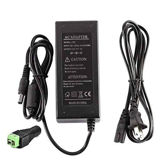 LEDMO Power Supply, Transformers,LED Adapter, 12V, 5A Max, 60 Watt Max, for LED Strip