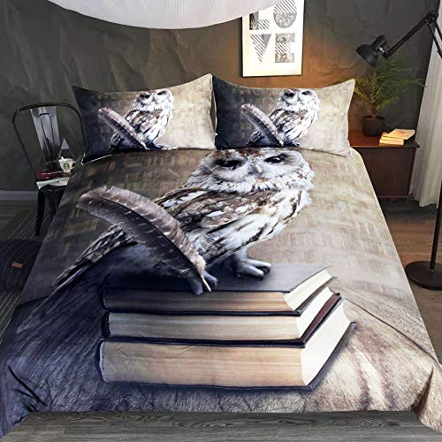 Bedding Duvet Cover 3D Printed Owl Duvet Cover with Zipper Closure And 2 Pillowcases, 3 Pieces Lightweight Microfiber Skeleton Bedding Set,Queen