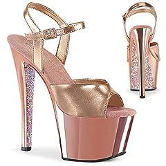 """Textile Heel: 7"""" Platform:2 3/4"""" Rubber sole"""