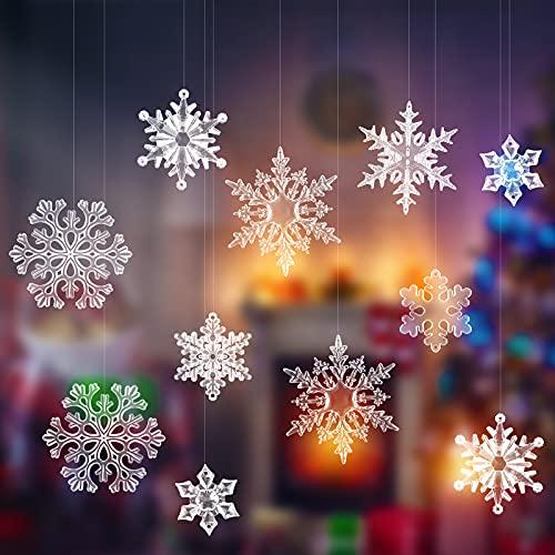 54 Decoraciones de Copo de Nieve de Acrílico de 7 Tipos Adornos Transparentes de Navidad Adornos de Copo de Nieve de Navidad Decoraciones de Copos de Nieve de Cristal para Árbol de Navidad