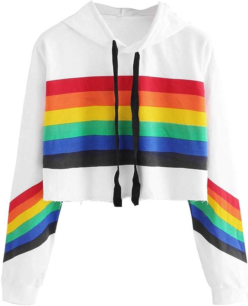 WOCACHI Teen Girls Rainbow Sweatshirt Womens Crop Tops Patchwork Long Sleeve Stripe Pullover Hoodies