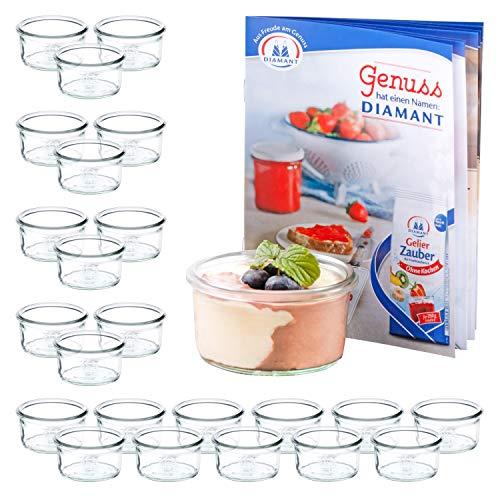 MamboCat Set van 24 weckglazen 165 ml + receptenboekje | transparant pastelglaasje | Ø 8,8 cm | levensmiddelen inkoken, bewaren en bewaren | weck-accessoires