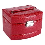 Boîte à Bijoux Coffret Pésentoirs en Cuir 3 Plateaux Tiroirs Intérieur Velouté 5 Couleurs Verrouillable à Clé MiroirAccessoires(Red)