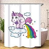 Fgolphd Duschvorhang Unicorn 120x200 180x200 180x180 200x240 Cute Bunt Pink Blau Textil Badezimmerteppich 4-teiliges Set,Shower Curtains Waschbar (16,120 x 200 cm)
