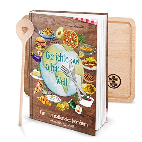 Logbuch-Verlag Set XXL Receptenboek om zelf te schrijven, DIN A4, gerichte uit alle wereld met kooklepel hart + snijplank hout bruin kleurrijk koken DIY kookboek eigen recepten