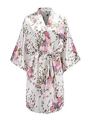 EPLAZA Women Floral Satin Robe Bridal Dressing Gown Wedding Bride Bridesmaid Kimono Sleepwear (White)