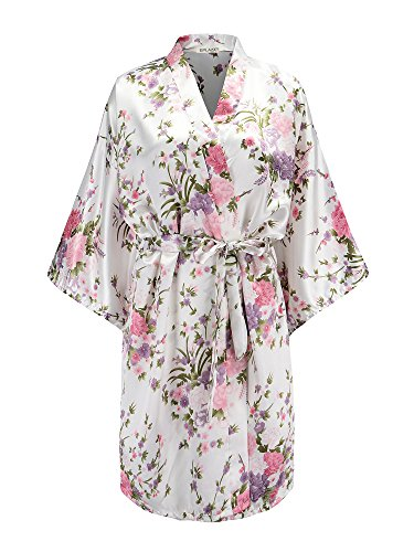 EPLAZA Women Floral Satin Robe Bridal Dressing Gown Wedding Bride Bridesmaid Kimono Sleepwear (White, S/M)