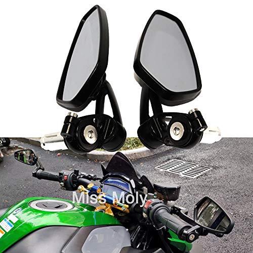 Motocicleta Espejos Laterales de Extremo de Barra,7/8'22 mm Aleación de Aluminio Espejos Retrovisores del Manillar para Scooter Cruiser Sport Bike(Negro)