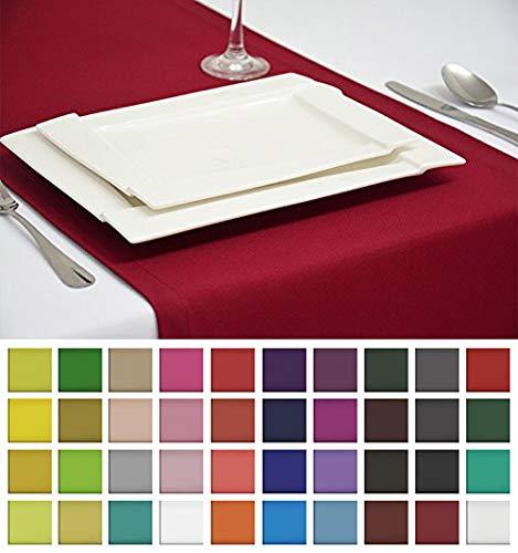 Rollmayer Edle Tischläufer Tischdecke Tischtuch Tischwäsche Pflegeleicht Kollektion Vivid (Weinrot 13, 40x200cm)