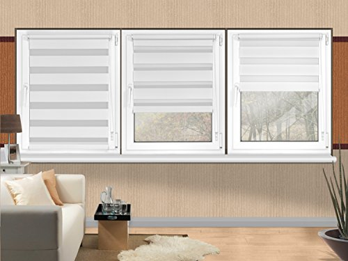 Doppelrollo in 4 Farben & in 8 Größen – mit Klemmfixierung am Fensterahmen und fest montierter Trägerschiene – kinderleichte 3-Step Montage, ca. 80 x 150 cm, weiß - 9
