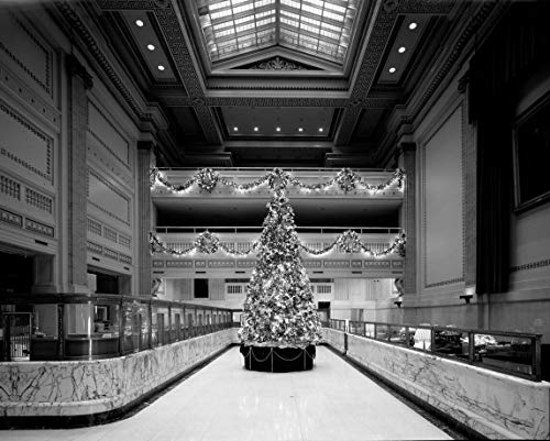 18 x 24 Black & White Canvas Wrapped Print of Christmas Tree in The Historic PNC Bank Building Formerly Bank of America and Riggs National Bank at The Corner 15th Street and Pennsy h64 1993 Highsmith