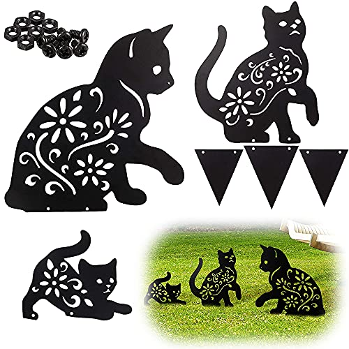 Loofu Sagoma di gatto Decorazione del cortile,Metallo disegno scavato a vuoto Dell'ombra per Cortile...