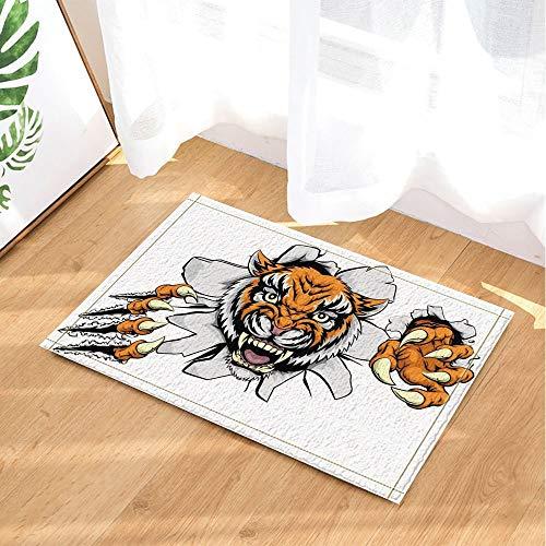 ZZZdz Mad Tiger Break The Paper Badmat voor de badkamer, antislip ingang voor buiten, 40 x 60 cm