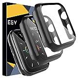 EGV Cover Compatibile per Apple Watch 44mm Series 5/4 Pellicola Protettiva, [2 Pezzi] Custodia Rigida con Vetro Temperato [Copertura Completa] [HD Clear] per iwatch Series 5/4 44mm - Nero