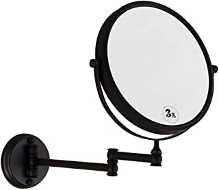 Bathroom Wall Mount Mirror, Makeup Mirror with 1X/3X Magnification Two-Sided 360°Swivel Design Extendable Bathroom Mirror, Retro Black