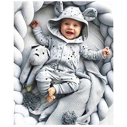 LFEWOX Baby Bettschlange Bettumrandung Geflochten 4M Nestchen Nestchenschlange Babybett Stoßstange Weben Kantenschutz Kopfschutz Dekoration Für Krippe Kinderbett Rosa,Grau,1M/39 in