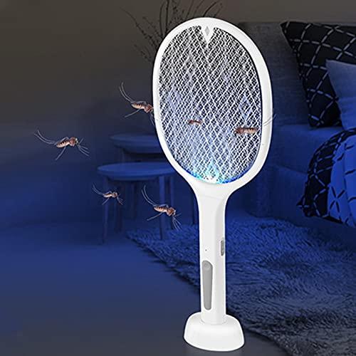 Swatter a la mosca eléctrica, raqueta de tenis de bogue recargable por USB con red de malla táctil bolsillo integrado, mata los insectos, mosquitos e insectos para la casa al aire libre