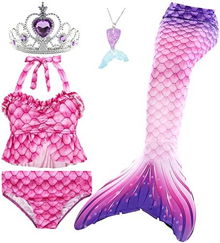 Le SSara 5 Pezzi Ragazze Costume da Bagno Sirena Code per Nuoto Principessa Bikini Costume di Bagno Set Regalo di Compleanno 3-12 Anni (No Monofin) (GB20+5pcsPur,9-10 Anni)